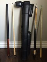 Pool cues and case