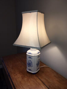 Vintage Blue & White Chinese Motif Ceramic Lamp with Silk Shade