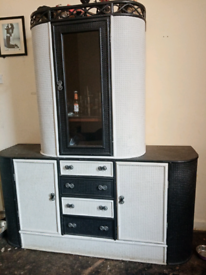 Vintage solid wood and rattan wall unit