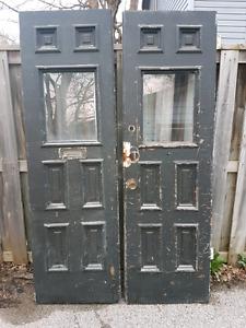 Victorian antique double wood doors