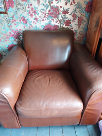 Two brown leather chairs (FREE)