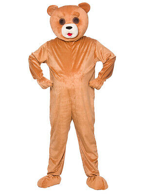 Funny Teddy Bear Adult Big Head Fancy Dress Mascot Costume Grizzly Animal - Grizzly Bear Costumes