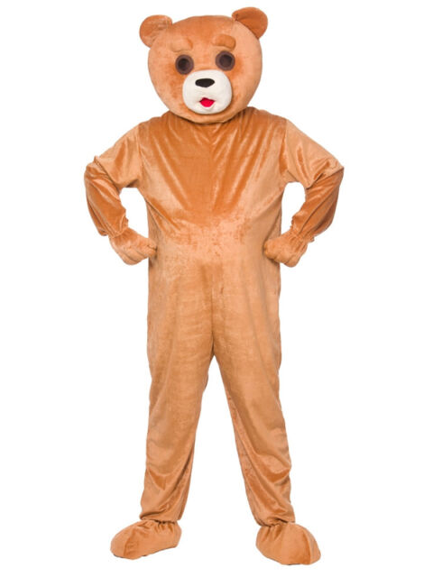 Funny Teddy Bear Adult Big Head Fancy Dress Mascot Costume Grizzly Animal Unisex
