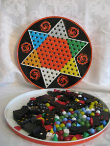 Vintage Tin 1960-70's Chenese Checkers Board & Contents Marbles