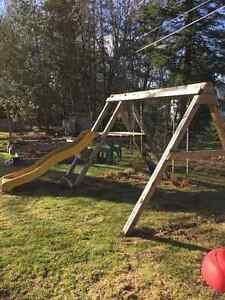 Wooden playset, swings