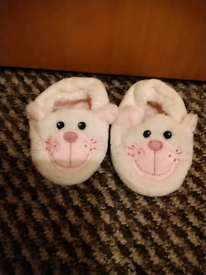 Mothercare Baby White and Pink Bear Slippers