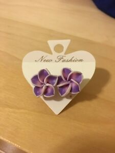 Never worn purple flower earrings