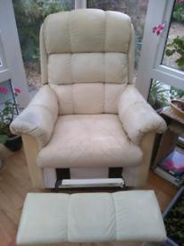 Cream lazy boy leather recliner