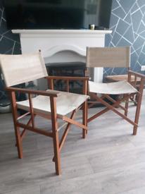 Pair of folding directors garden chairs