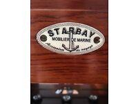 Burgundy leather trunk bar