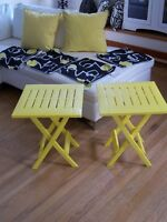YELLOW PATIO SIDE TABLES & CUSHIONS *** CAN DELIVER