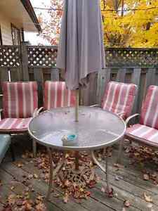 Patio table , chairs and umbrella set