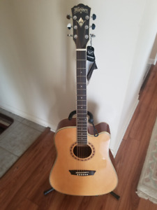 Acoustic Electric Guitar + case + Stand