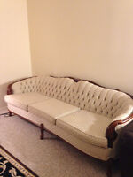 White fabric sofa in excellent condition