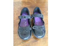 Girls Clarks Black School Shoes Size 8E