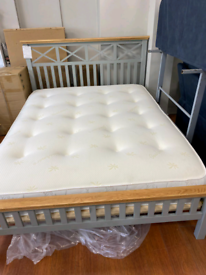 11. Brand new grey and oak kingsize bed frame and mattress