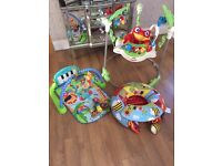 Jumperoo piano play mat and sit me up garden gang