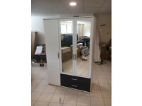 White & Metalic Grey 3 Door Wardrobe With 2 Mirrored doors & 2 drawers