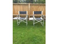 2 safari camping chairs with fold away tables