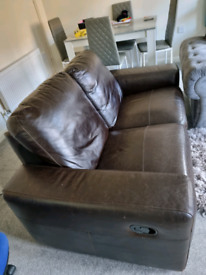 Leather reclining sofa 2 seater