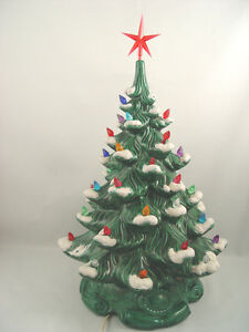 Vintage Large MUSICAL Ceramic Christmas Tree WORKS 17 Inch Tall