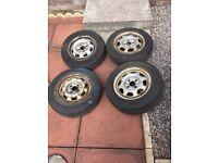 Vw golf mk1 steel wheels 4x100 3 good tyres