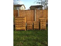 Matching set of quality solid pine bedroom furniture
