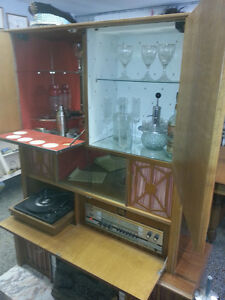 70s retro tall barr with stereo/fireplace/turntable/speakers