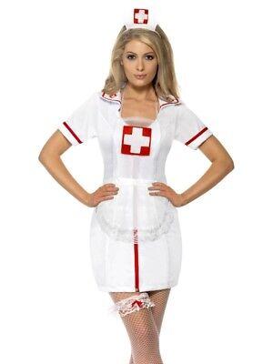 Krankenschwester Set 3-teilig Nurse Set Hut Strumpfband Schürze (Smiffys Nurse Kostüm)