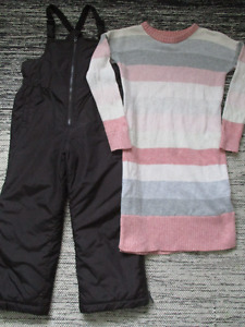 Gap snow pants (5T) with Gap sweater dress (size 6/7)