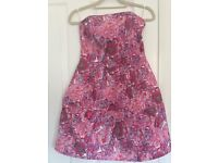 Pink Floral Strapless Dress, Topshop, size 8