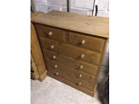 2 X solid pine chest of drawers