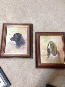 2 frames with dog artwork