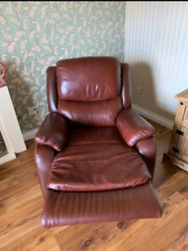 Leather sofa and recliner armchair