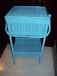 Antique wicker standing sewing basket from 1920's