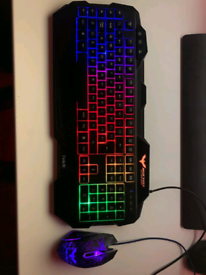 Backlit RGB Wired Gaming Keyboard and Mouse