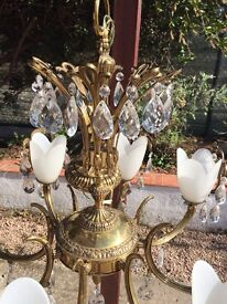 Chandelier, French, Brass and Crystal. 58cm diameter.