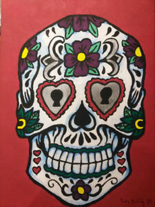 Acrylic Sugar Skull Paintings on Various Sized Canvas