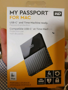 External Hard Drive WD 4TB Passport for MAC. USB C TYPE READY.