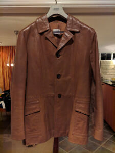 BROWN LEATHER ARMANI JACKET