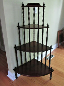 Antique Spindle What Not Corner Stand Shelf Mahogany 4 tier