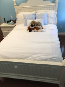 Beautiful white wood, double bed and night table