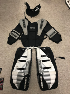 "Youth 20"" Goalie Pads, Chest protector and neck Guard"
