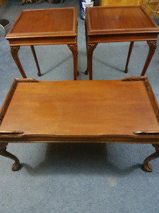 Antique coffee table and two end tables