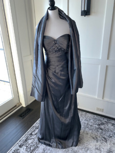 Formal Gown, Pewter,Fits sz 6-8, worn twice, excellent condition