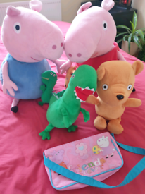 Peppa pig and George with theirs cuddly toys