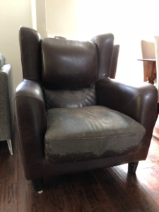 Wingback leather chairs