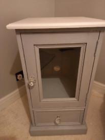 Shabby chic wood unit 1 draw diamond handle grey/ antique white top