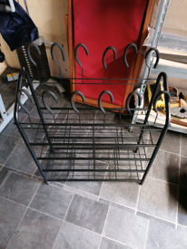 Shoe rack, 4 levels and hook holders at top
