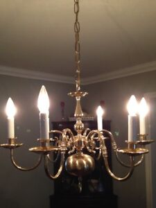 Lovely Brass Ceiling Fixture (lamp shades extra)